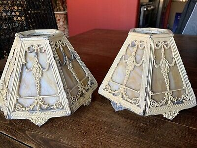 Antique Signed Bradley And Hubbard Slag Glass Hanging Lamp Shades