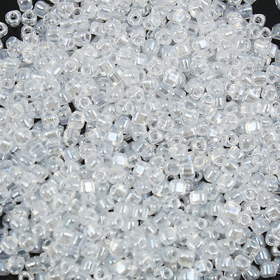 (Japan Import) Glass Triangle Seed Beads Transparent Clear Silver Lined 10 Grams
