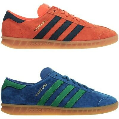 pretty nice 73991 eaddc Adidas Hamburg mens low-top sneakers orange blue casual shoes trainers NEW