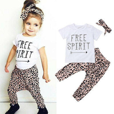 Casual Toddler Baby Girls Cotton Tops T-shirt+Trousers Pants Clothes Outfits UK