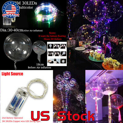 1/2/4/6/10pcs 3M Copper Wire Luminous Led Balloons For Wedding Birthday Party