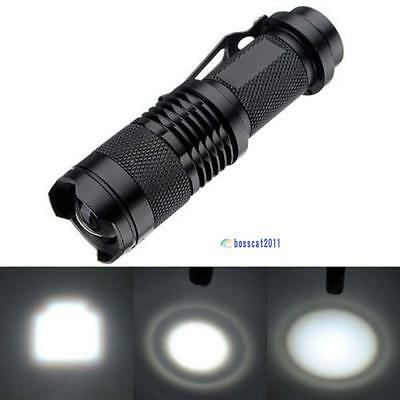 Q5 LED Mini Flashlight 14500 AA Torch 1200LM Zoomable Lamp Light W/ Clip PK