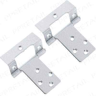 PAIR OF CRANKED FLUSH 50mm CABINET DOOR HINGES Cupboard Caravan Boat Wraparound
