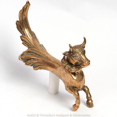 Antique BRASS BULL with Garland in its Mouth Garniture Ornament Pole End Unusual