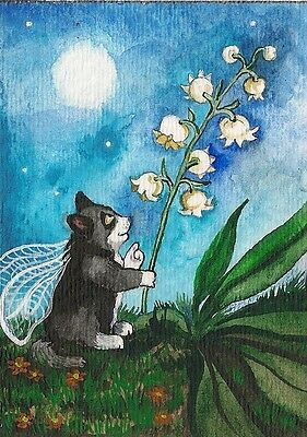 Aceo Print Of Painting Ryta Tuxedo Cat Watercolor Fairy Lily Of The Valley Angel
