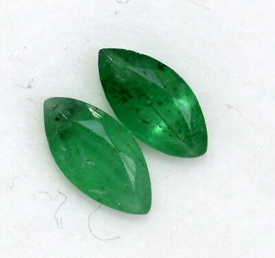 Natural Emerald Marquise Cut Pair 7.50x3.50 mm 0.81 Cts Certified Loose Gemstone