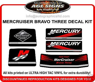 Mercruiser Bravo three Outdrive Reproduction Decal Kit    twin prop  mercury 3