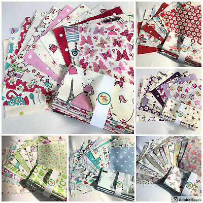 Fabric Bundles 100% Cotton Mixed Bright Assorted Prints Bunting & Quilting 7pcs