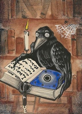 ACEO RAVEN CROW RYTA PRINT OF PAINTING BOOK ART WICCA FOLK BOOK SPELLS Clock