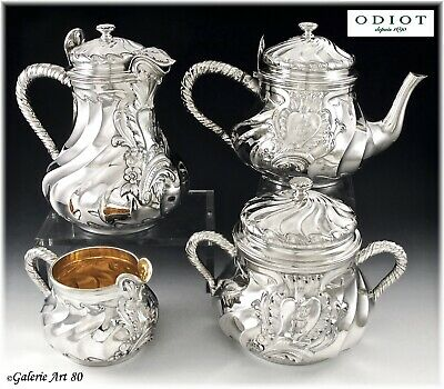 ODIOT : Antique French Sterling Silver Vermeil Tea & Coffee Set 4pc