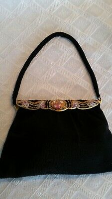 Vintage Langlois & Jargeais 1940's Micro Bead and Brass Evening Bag/Purse/Clutch