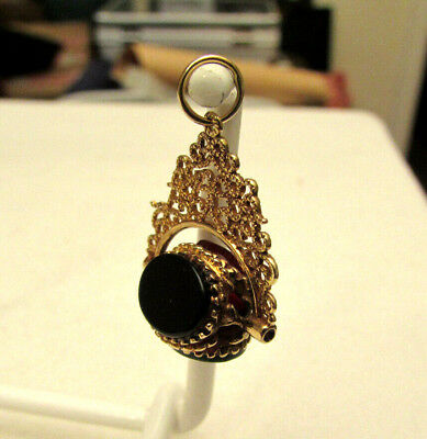 Filigree 9ct Gold Triple Stone Swivel Pocket Watch Fob or Pendant - Stamped 375