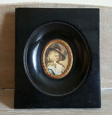 Signed Antique 19Th Century Miniature Portrait Painting In Original Wooden Frame