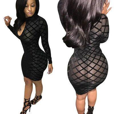 Women Spring Sexy Hollow Out Long Sleeve Dress Party Nightclub Bodycon Dress LD