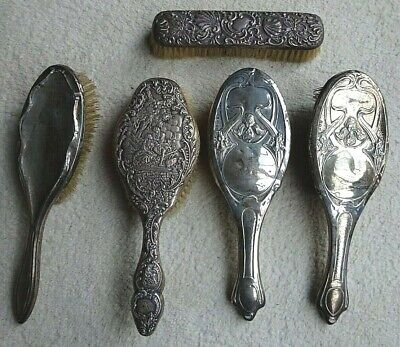 Job lot of 5 Antique Victorian SILVER HAIR BRUSHES