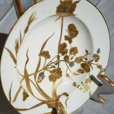 Minton bowl 19th Century Aesthetic Movement gold encrusted, hand painted,