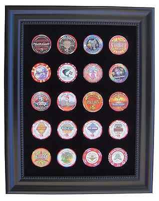 9x12 BLACK DISPLAY PICTURE FRAME FOR 20 CASINO POKER CHIPS (NOT INCLUDED)