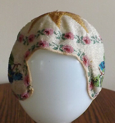 Vintage Small Childs Or Dolls Beaded Cap