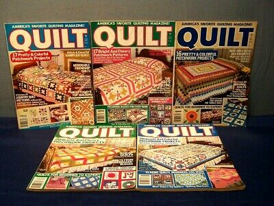 LOT of 5 VINTAGE QUILT MAGAZINES COMPLETE YEAR 1987 & SPRING 1988  PATTERNS  GUC