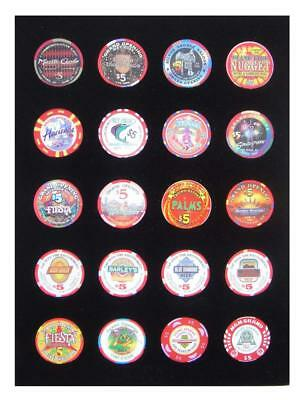 9x12 BLACK DISPLAY INSERT FOR 20 CASINO POKER CHIPS (NOT INCLUDED)