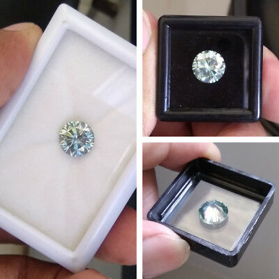 1.84 CT 8.4 MM Light Blue Round Brilliant Diamond Cut Real Moissanite For Ring