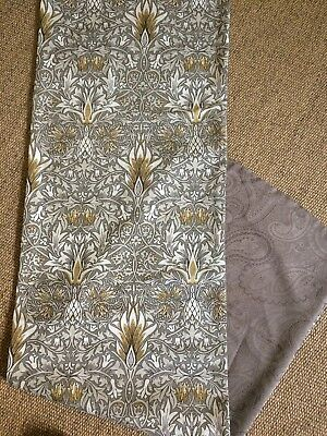 """W Morris Snakeshead Fabric Table Runner 54"""" X 15.5"""" Faux Paisley Suede Reverse"""