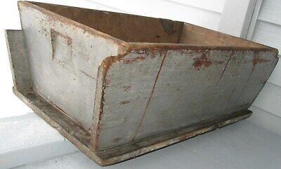 Spectacular Antique  Wood Dough Box,old Blue/grey Paint, Square Nails Tin Repair