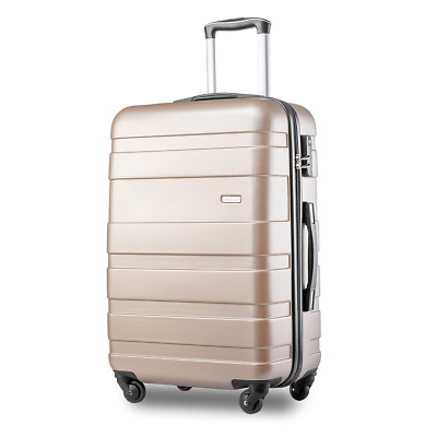 Merax ABS Hard Shell Carry On Cabin Hand Luggage Suitcase with 4 Wheels (Golden)