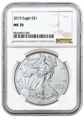 2019 1oz Silver American Eagle NGC MS70 Brown Label Certified Graded