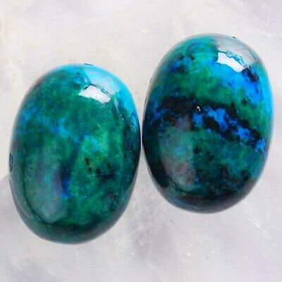 T3196 17x12x6 Pair Lapis Lazuli with Chrysocolla Oval CAB Cabochons