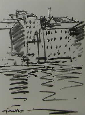 JOSE TRUJILLO ABSTRACT ORIGINAL Charcoal Study Sketch RIVER BUILDINGS MODERNIST