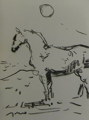 JOSE TRUJILLO ABSTRACT ORIGINAL Charcoal Study Sketch MODERN HORSE WESTERN DECOR