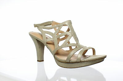 a074347c40b7 Naturalizer Womens Danya Taupe  Gold Ankle Strap Heels Size 12 (61543)