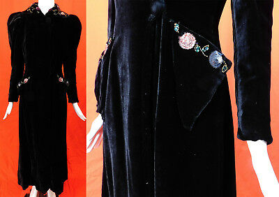 Vintage 1940s Black Velvet Colorful Sequin Gold Beaded Long Evening Opera Coat