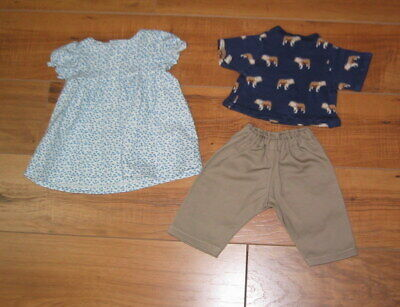 Handmade doll clothes for Bitty Baby - blue flower dress, pants set