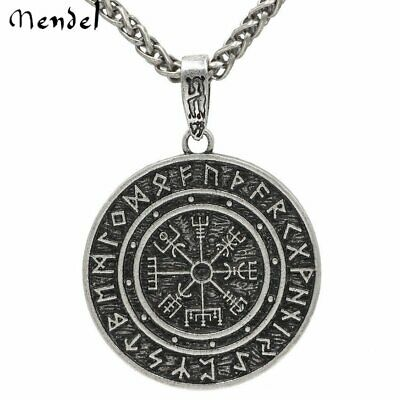 Mens Viking Pirate Compass Pendant Necklace Amulet vegvisir Odin Steel Chain