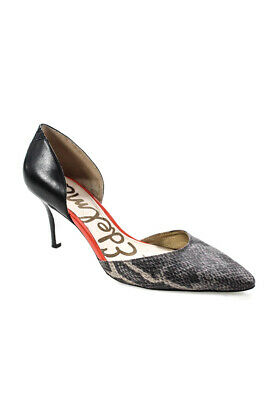 03f9beb44d4e2 Sam Edelman Womens Snakeskin Print Pumps Gray Black Leather Size 38.5 8.5