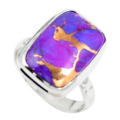 925 Sterling Silver Purple Copper Turquoise Octagan Ring Jewelry Size 6 M72619