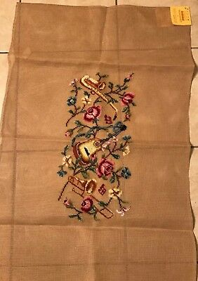 Musical Instruments & Floral Rug or Bench Preworked Needlepoint Canvas - Vtg