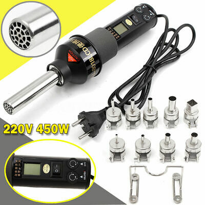 Durable 450W 220V LCD Display Easy Hot Air Heat Gun Soldering Station + 9XNozzle