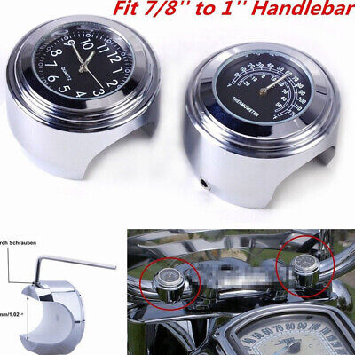 "7/8""/1"" Motorcycle Clock Thermometer Handlebar Watch Dial Waterproof 4.5*3.2 cm"