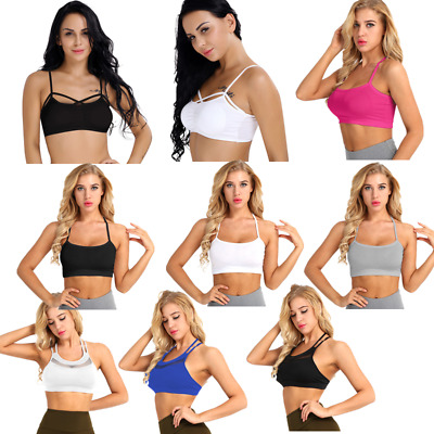 Women's Yoga Mesh Sports Bra Padded Cup X-back Gym Active Fitness Crop Top Vest