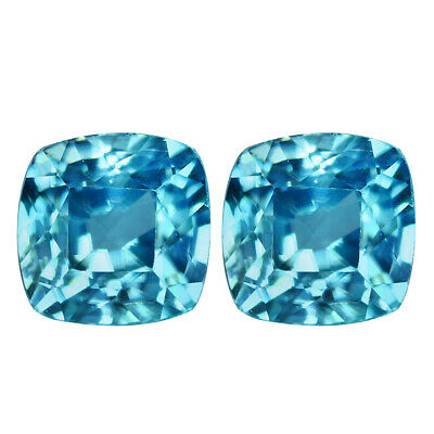 1.11Ct IF 2Pcs Pair Incomparable Cushion Cut 4 x 4 mm AAA Natural Blue Zircon