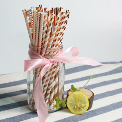 25pcs Foil Rose Gold Paper Drinking Straws Wedding Birthday Party Home Supplies