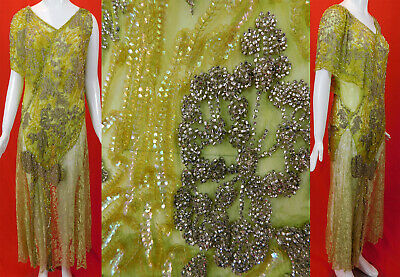 Vintage Art Deco Style Asymmetrical Chartreuse Lace Sequin Beaded Flapper Dress