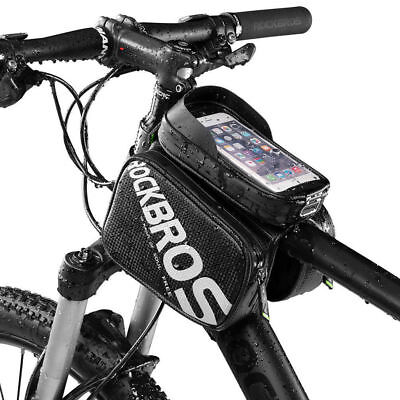 RockBros Bicycle Frame Tube Bag Waterproof Touch Screen Phone Bag Black 6.2inch