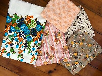 Retro Vintage Fabric Pack - Craft, sewing, upholstery- 5 pieces of fabric