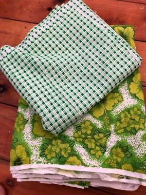 Retro Vintage GREEN Fabric Pack - Craft, sewing, upholstery- HAWAIIN & CHECK