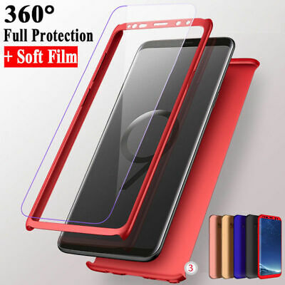 360° Full Hybrid Acrylic Hard Case Cover+Screen Protector For Samsung Cellphones