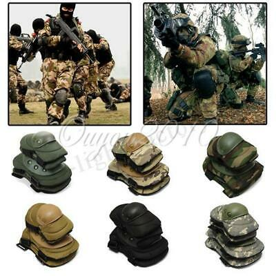 Military Knee Elbow Protector Tactical Combat Protective Pads Set Gear Sports